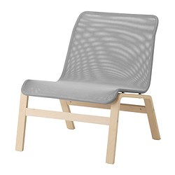 NOLMYRA - Easy chair, birch veneer/grey