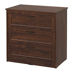 SONGESAND - Chest of 3 drawers, brown