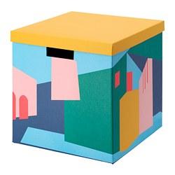 TJENA - Kotak penyimpanan dengan penutup, kuning