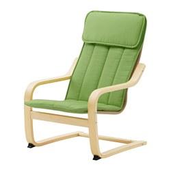 POÄNG - Kursi berlengan anak, veneer kayu birch/Almås hijau