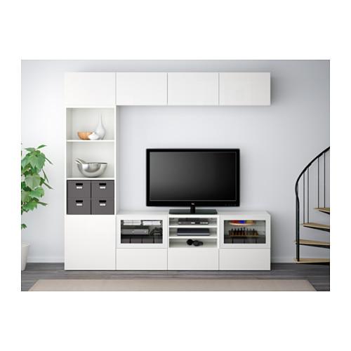 BESTÅ kombinasi penyimpanan TV/pintu kaca
