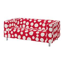 KLIPPAN - Sarung untuk sofa 2 dudukan, Storvreta merah/putih