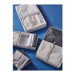 RENSARE - Kantung baju, set isi 3, pola kotak/abu-abu hitam