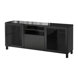 BESTÅ - TV bench, Lappviken/Sindvik black-brown clear glass