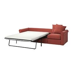 GRÖNLID - Sofa tempat tidur 3 dudukan, Ljungen merah cerah