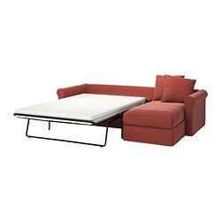 GRÖNLID - 3-seat sofa-bed, with chaise longue/Ljungen light red