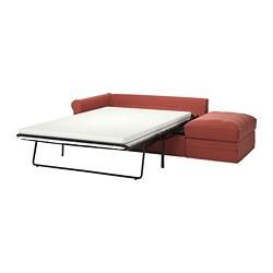 GRÖNLID - Sofa tempat tidur 3 dudukan, dengan ujung terbuka/Ljungen merah cerah