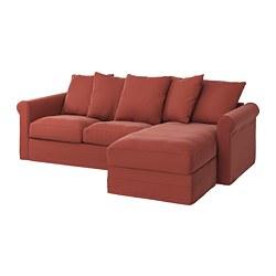 GRÖNLID - 3-seat sofa, with chaise longue/Ljungen light red