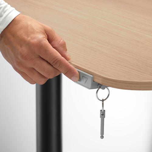 BEKANT - meja sudut kiri duduk/berdiri, veneer kayu oak diwarnai putih/hitam, 160x110 cm | IKEA Indonesia - PE714455_S4