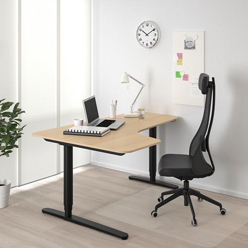 BEKANT - meja sudut kiri duduk/berdiri, veneer kayu oak diwarnai putih/hitam, 160x110 cm | IKEA Indonesia - PE722227_S4