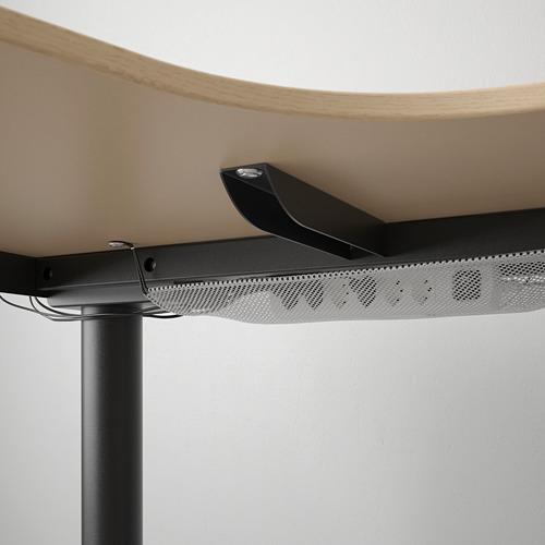BEKANT - meja sudut kiri duduk/berdiri, veneer kayu oak diwarnai putih/hitam, 160x110 cm | IKEA Indonesia - PE722292_S4