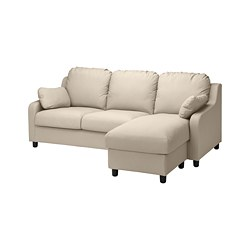 VINLIDEN - 3-seat sofa with chaise longue, Hakebo beige