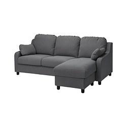 VINLIDEN - 3-seat sofa with chaise longue, Hakebo dark grey