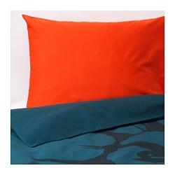 URSKOG - Quilt cover and pillowcase, lion/dark blue