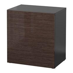 BESTÅ - Unit rak dengan pintu, hitam-cokelat/Selsviken high-gloss/cokelat