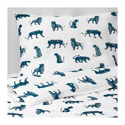 URSKOG - Sarung quilt dan sarung bantal, harimau/biru