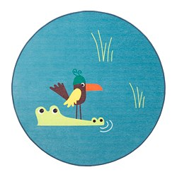 DJUNGELSKOG - Rug, flatwoven, bird/blue