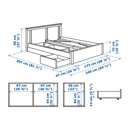 SONGESAND - rngk tmpt tdr dg 2 ktk penyimpanan, putih/Luröy, 160x200 cm | IKEA Indonesia - PE747532_S4