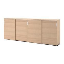 GALANT - Kombnsi pnyimpanan dg pintu geser, veneer kayu oak diwarnai putih