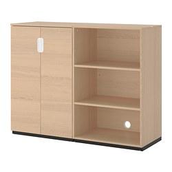 GALANT - Kombinasi penyimpanan, veneer kayu oak diwarnai putih