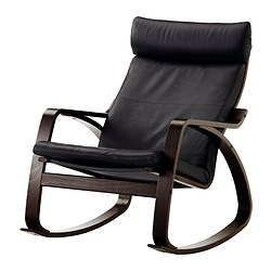 POÄNG - Rocking-chair, black-brown/Smidig black