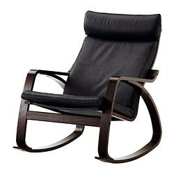 POÄNG - Kursi goyang, hitam-cokelat/Smidig hitam