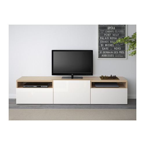 BESTÅ - meja TV, efek kayu oak diwarnai putih/Selsviken high-gloss/putih, 180x40x38 cm | IKEA Indonesia - PE537015_S4