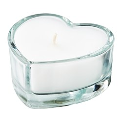 VINTERFEST - Unscented candle in glass, heart/clear glass