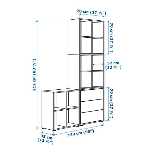 EKET - kombinasi kabinet dengan kaki, putih/abu-abu muda, 140x35x212 cm   IKEA Indonesia - PE659517_S4