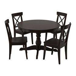 INGATORP - Meja dan 4 kursi, hitam/cokelat-hitam