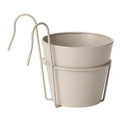 VITLÖK - VITLÖK, plant pot with holder, in/outdoor beige, 15 cm