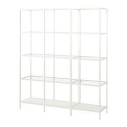 VITTSJÖ - Storage combination, white/glass