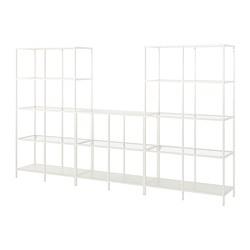 VITTSJÖ - Kombinasi penyimpanan, putih/kaca