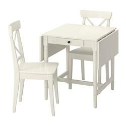 INGATORP/INGOLF - Meja dan 2 kursi, putih/putih