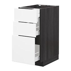 METOD/FÖRVARA - Kabinet dasar dgn 3 laci, hitam/Kungsbacka putih matt