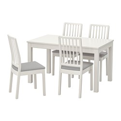 EKEDALEN/LANEBERG - Table and 4 chairs, white/white light grey