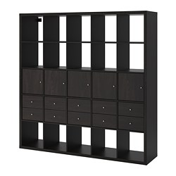KALLAX - Shelving unit with 10 inserts, black-brown