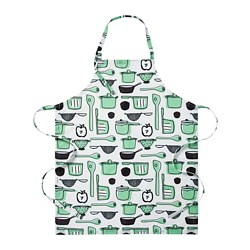 RINNIG - Apron, white/green/patterned