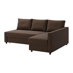 FRIHETEN - Sofa tempat tidur sudut dgn pnympn, Skiftebo cokelat