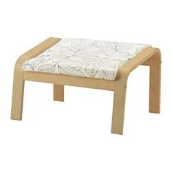 POÄNG - Bangku kaki, veneer kayu birch/Vislanda hitam/putih