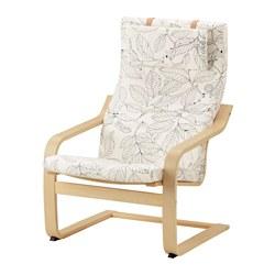 POÄNG - Kursi berlengan, veneer kayu birch/Vislanda hitam/putih