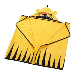DJUNGELSKOG - Towel with hood, tiger/yellow