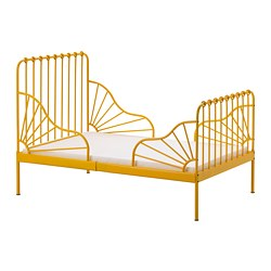 MINNEN - Ext bed frame with slatted bed base, dark yellow