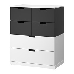 NORDLI - Chest of 6 drawers, white/anthracite
