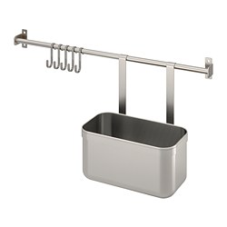 KUNGSFORS - Rail with 5 hooks and 1 container, stainless steel