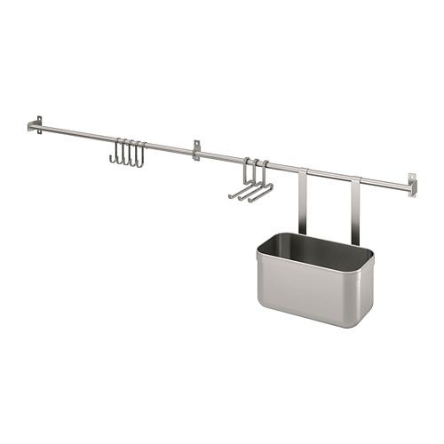 KUNGSFORS - rel dg kait dan wadah, baja tahan karat, 112 cm | IKEA Indonesia - PE748363_S4