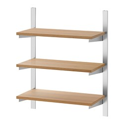 KUNGSFORS - Suspension rail with shelves, stainless steel/ash