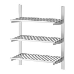 KUNGSFORS - Suspension rail with shelves, stainless steel