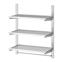 KUNGSFORS - Suspension rail w shelves and rail, stainless steel