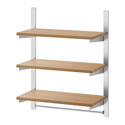 KUNGSFORS - Suspension rail w shelves and rail, stainless steel/ash